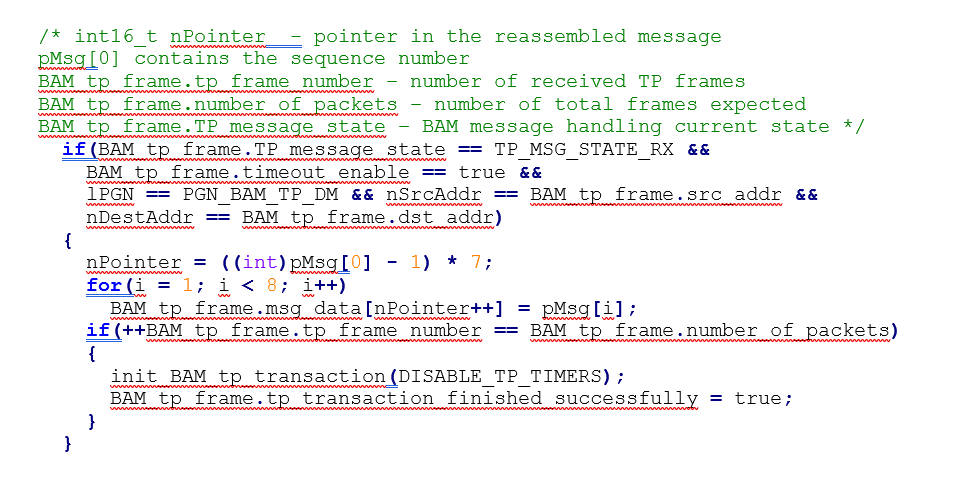 SAE J1939 Cybersecurity, figure 1 code snippet message data reassembly, automotive cybersecurity, arilou